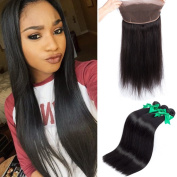 MIssIvy Hair Pre Plucked 360 Lace Band Frontal Brazilian Virgin Human hair Bundles 3pcs + 360 Lace Band Frontal Closure Silky Straight with Natural Hairline & Adjustable Strap 26 26 26+50cm