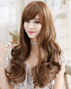 Wigsforyou Long Wavy Ladies Brown Synthetic Hair Wig with Bangs