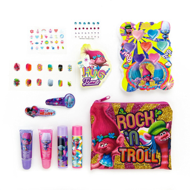 Dreamworks Trolls Beauty Kit with Lip Gloss and Balm, Press-On Nails, File, Stickers, Gems and Compact