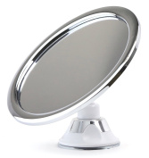 Shower Shaving No Fog No Steam Chrome Bathroom Mirror By Sparrow Décor - 15cm Fogless Screen – Durable Locking Suction Cup For Easy Wall Mounting - 360° Rotation – Comes With Razor Holder