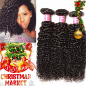 Longqi Beauty Peruvian Curly Weave Hair 3 Bundles, Peruvian Hair Curly Remy Hair 3pcs Set 100% Virgin Unprocessed Human Hair Extensions Natural Colour