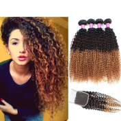 Allove Hair 8A Brazilian 3 Tone Ombre Colour Kinky Curly Virgin Human Hair 4 Bundles with Free Part Lace Closure Ombre 4X4 Remy Human Curly Hair Bundles Extensions