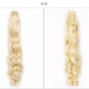 synthetic hair Long Big Wavy Light Blonde Claw Ponytail Clip in Hair Extensions One Piece Handy Jaw Pony Tail American Style Hairpiece