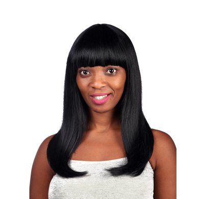 "20"" 52CM Women's Mid-Long Straight Wig Shoulder Length with Neat Bang Wig 1B#"