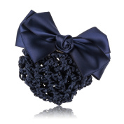 So Beauty Women's Classic Rhinestone Pleated Bowtie Snood Hair Net with French Barrette for Buns Blue