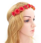 Merroyal Flower Hippy Women Girls Headband Crown Festival Birthday Party boho Hairband Floral Bridesmaid Wedding