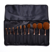 Uarter Oval Makeup Brushes Set Professional Toothbrush Cosmetic Tool for Eye and Face with Cosmetic Bag 10 Pcs/Set