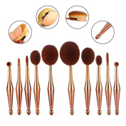 10 Piece Elite Oval Spoon Makeup Brush Toothbrush Set Pro Essential Glitter Foundation Powder Contour Concealer Eyeshadow Eyeliner Full Face Makeup Cosmetic Brushes Set Kit Collection Rose Gold