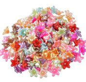 200PCs Mixed Flower Acrylic Spacer Beads 13x13mm