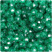 BEADTIN Emerald Green Sparkle 8mm Faceted Round Craft Beads