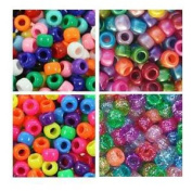 Rainbow Bright Multi Colour 6 x 9mm Plastic Craft Pony Beads, 4 Bags Variety Pack - 2000 beads, Beads Kit Gift Set