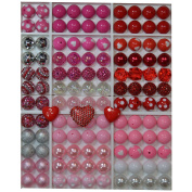 Valentine Themed Bulk Party Mix of 20mm Acrylic Bubblegum Beads in Red and Pink Colours with Heart Rhinestone Pendant