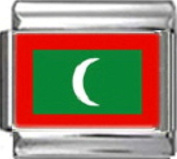 MALDIVES MALDIVIAN FLAG Photo Italian Charm 9mm - 1 x PC110 Single Bracelet Link