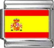 SPAIN SPANISH FLAG Photo Italian Charm 9mm - 1 x PC164 Single Bracelet Link