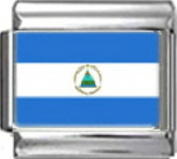 NICARAGUA NICARAGUAN FLAG Photo Italian Charm 9mm - 1 x PC128 Single Bracelet Link