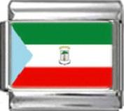 EQUATORIAL GUINEA FLAG Photo Italian Charm 9mm - 1 x PC055 Single Bracelet Link