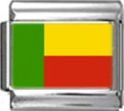 BENIN BENINESE FLAG Photo Italian Charm 9mm - 1 x PC019 Single Bracelet Link