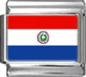 PARAGUAY PARAGUAYAN FLAG Photo Italian Charm 9mm - 1 x PC138 Single Bracelet Link