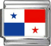 PANAMA PANAMANIAN FLAG Photo Italian Charm 9mm - 1 x PC136 Single Bracelet Link