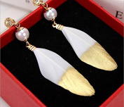 Leiothrix Fashion Handmade Feather Earrings in Golden & White for Women and Girls Apply to Wedding Party Casual