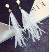 Leiothrix Bohemia Manual Ostrich Feather Tassel White Earrings for Women and Girls Apply to Wedding Party Casual