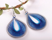 Leiothrix Bohemia Handmade Silk Alloy Earrings in Blue for Women and Girls Apply to Wedding Party Casual