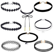 Urmiss 8 Pieces Vintage Lace PU Leather Tattoo Choker Collar Necklace Chain Sets for Women Girls