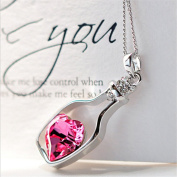 HP95(TM .   Women Crystal Necklace with Love Drift Bottles
