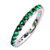 Narica Women's Charming 21Pcs Emerald Quartz Engagement CZ Ring Band