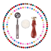 Eachbid 120 Pieces Sealing Wax Beads with Candle Melting Spoon and Seal Stamp
