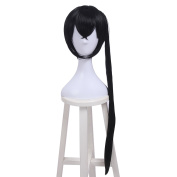 ROLECOS Womens Anime Wigs Ripple Straight Synthetic Cosplay Wig Black with Pigtail