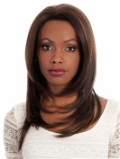 Finders 46cm Medium Straight Wigs ombre Brown Heat Resistant Synthetic Wigs For African American Women