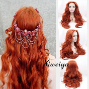 Xiweiya long wavy body wave brown red colour synthetic lace front wig mermaid long wavy hair replacement wig for women half hand tied gluless wig