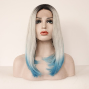 Fennell Heat Resistant Synthetic Hair Wig Half Hand Tied 3T Ombre Bob Lace Front Wig For Woman
