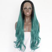 Fennell Long Natural Wave Gren ombre Heat Resistant Synthetic Hair Half Hand Tied Lace Front Wig For Woman