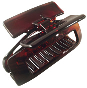 Parcelona French New Rectangle Medium Tortoise Shell Brown Celluloid Acetate Sturdy Jaw Hair Claw Clip with Covered Spring