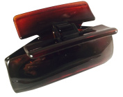 Parcelona French Boxed Medium Tortoise Shell Brown Celluloid Acetate Sturdy Jaw Hair Claw Clip with Covered Spring