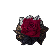 Nuoqi Gothic Lolita Maid Red Roses Lace Headwear Hair Clips Accessories