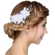 Meiysh Handmade Bridal Flower Hair Clips with Simulated Pearl and Beads Wedding Hair Accessories