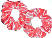 Coral Light Orange Spandex Hair Scrunchie Handmade by Scrunchies by Sherry Lot of 2