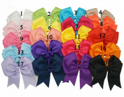15cm Grosgrain Hair Bow Baby Solid Ribbons Hair Bows Hair Clips 20 Colours For Girl's Hair Accessories