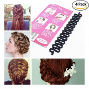 Aile Rabbit 4 Pcs Girl Ladies Fashion Hair Styling Clip DIY French Hair Braiding Tool Hair Braider Twist Roller Magic Wonder Holder Clip