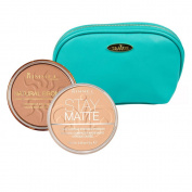 Rimmel Natural Bronzers Kit in Two Shades 15mls Each; Sunshine and Nude Beige with Aquamarine Draizee Leather Cosmetic Bag