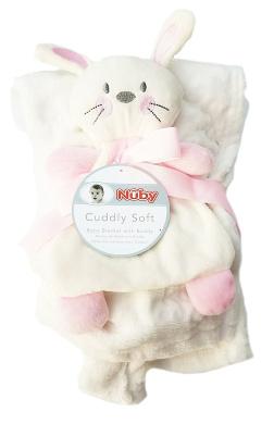 Cuddly Soft Baby Blanket With Buddy 80cm x 90cm by Nuby (Pink Bunny)
