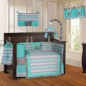 BabyFad Elephant Chevron Torquoise 10 Piece Baby Crib Bedding Set