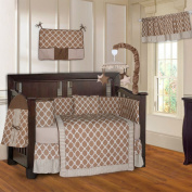 BabyFad Quatrefoil Clover Brown 10 Piece Baby Crib Bedding Set