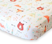100% Organic Cotton Fitted Crib Sheet by ADDISON BELLE - Premium Baby Bedding - Fox+Bear Print - Soft, Breathable & Durable