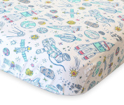 100% Organic Cotton Fitted Crib Sheet by ADDISON BELLE - Premium Baby Bedding - Space Print - Soft, Breathable & Durable