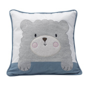 Happi By Dena Lambs & Ivy Little Llama Bear Decorative Pillow, Grey/Blue