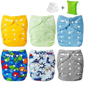 Baby Cloth Nappy, Baby Reusable Washable All in one Size Cloth Pocket Nappies, Adjustable Snap, 6 Pcs + 6 Inserts, Gift Set,